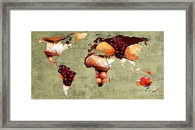 Abstract World Map - Harvest Bounty - Farmers Market Framed Print by Andee Design