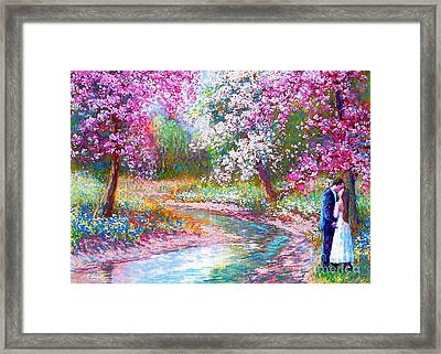 White Dress Framed Print featuring the painting Abundant Love by Jane Small