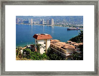 Acapulco Bay Architecture Framed Print by Linda Phelps