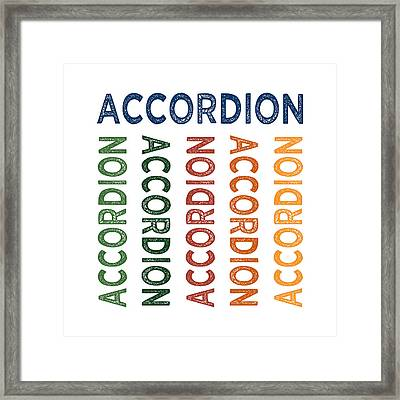 Accordion Cute Colorful Framed Print by Flo Karp