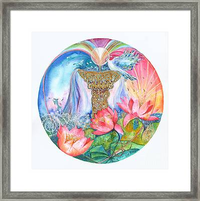 Ace Of Cups Mandala Framed Print by Kate Bedell