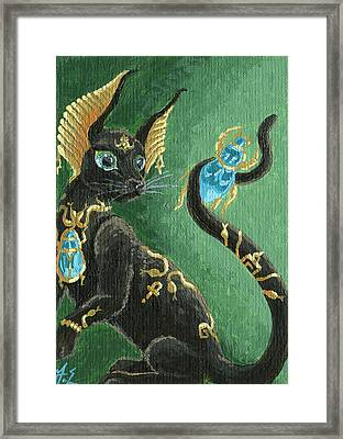 Aceo Scarab Jewel Cat Framed Print by Jennifer  Anne Esposito