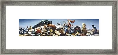 Achelous And Hercules Framed Print by Thomas Benton