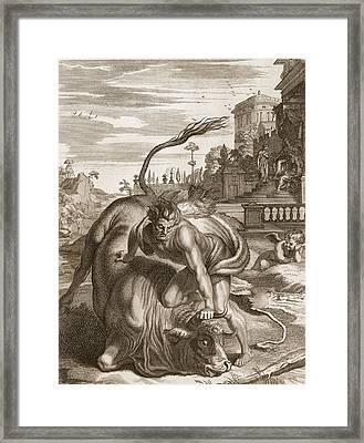 Achelous In The Shape Of A Bull Framed Print by Bernard Picart