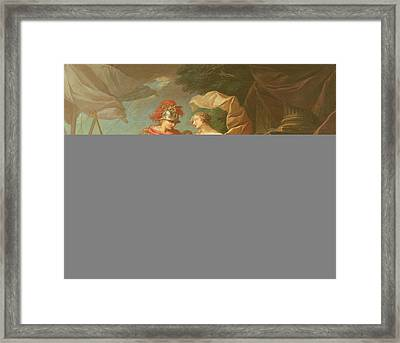 Achilles Leaving To Avenge The Death Of Patroclus Oil On Canvas Framed Print by Etienne Jeaurat
