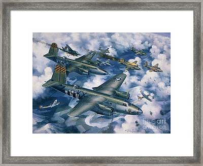 Achtung Zweimots Framed Print by Randy Green