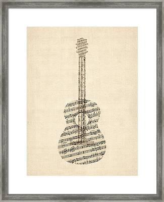 Acoustic Guitar Old Sheet Music Framed Print by Michael Tompsett