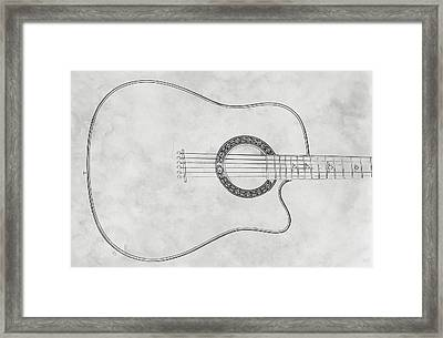 Acoustic Guitar On White Sketch Framed Print by Randy Steele