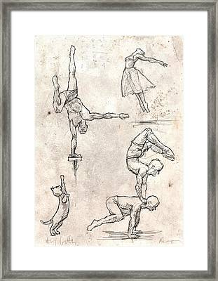 Acrobats And Dancer With Cat Framed Print by H James Hoff