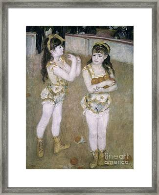Acrobats At The Cirque Fernand Framed Print by Pierre Auguste Renoir