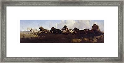 Across The Black Soil Plains Framed Print by George W Lambert