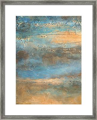 acrylic abstract landscape painting COASTAL MORNING Framed Print by Holly Anderson