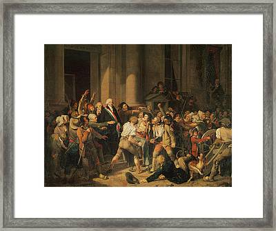 Act Of Courage Of Monsieur Defontenay, Mayor Of Rouen, 29th August 1792 Oil On Canvas Framed Print by Louis Leopold Boilly