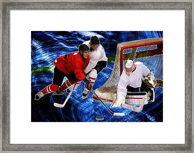 Action At The Hockey Net Framed Print by Elaine Plesser