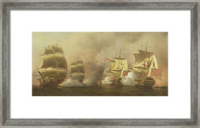 Action Off The Cape Of Good Hope Framed Print by Samuel Scott