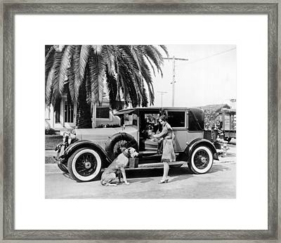 Actress And Dogs Go On Trip Framed Print by Underwood Archives