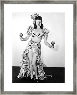 Actress Performs Wwii Dance Framed Print by Underwood Archives