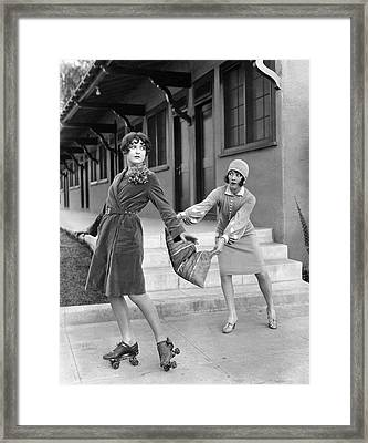 Actresses On Roller Skates Framed Print by Underwood Archives