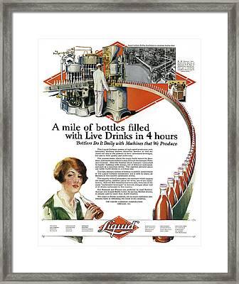 Ad Bottling, 1927 Framed Print by Granger