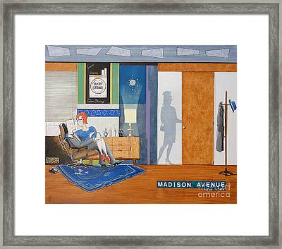 Ad Man Sitting In An Eames With Girl Friday Framed Print by John Lyes