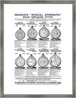 Ad Pocket Watches, C1885 Framed Print by Granger