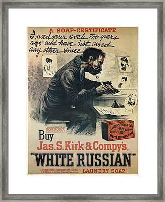 Ad White Russian Soap Framed Print by Granger
