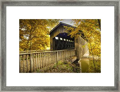 Ada Covered Bridge In Autumn Framed Print by Randall Nyhof