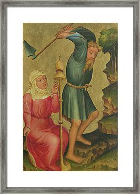 Adam And Eve At Work, Detail From The Grabow Altarpiece, 1379-83 Tempera On Panel Framed Print by Master Bertram of Minden