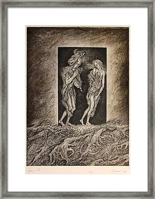 Adam And Eve Framed Print by Leonid Stroganov