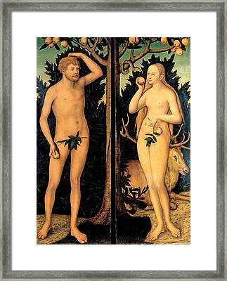 Adam And Eve Framed Print by Lucas Cranach the Younger