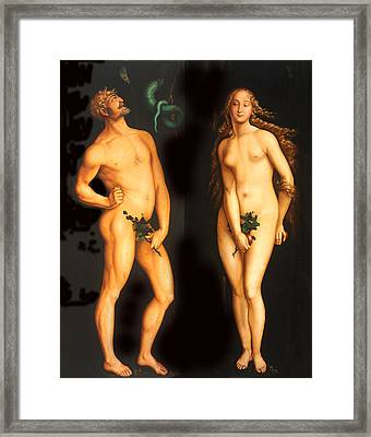 Adam Eve And The Serpent Framed Print by Hans Baldung