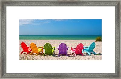 Adirondack Beach Chairs For A Summer Vacation In The Shell Sand  Framed Print by ELITE IMAGE photography By Chad McDermott