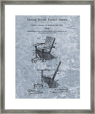 Adirondack Chair Patent Blue Framed Print by Dan Sproul