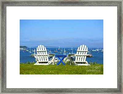 Adirondack Chairs Overlooking The Ocean Framed Print by Diane Diederich