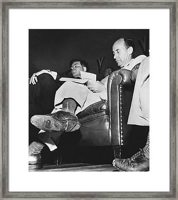 Adlai Stevenson Hole In Shoe Framed Print by Underwood Archives