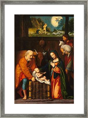 Adoration Of The Christ Child  Framed Print by Celestial Images