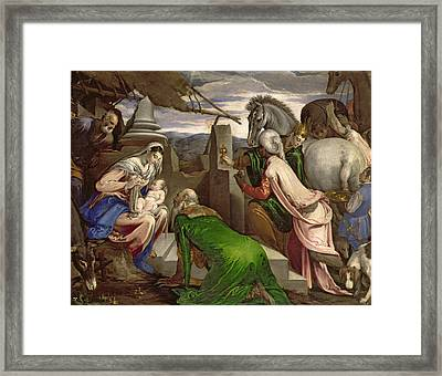 Adoration Of The Magi Framed Print by Jacopo Bassano