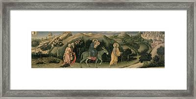 Adoration Of The Magi Altarpiece; Central Predella Panel Depicting The Flight Into Egypt, 1423 Framed Print by Gentile da Fabriano