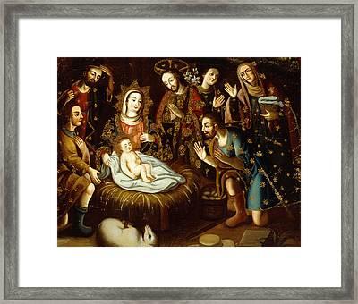 Adoration Of The Sheperds Framed Print by Gaspar Miguel de Berrio