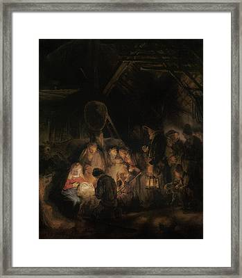 Adoration Of The Shepherds, 1646 Oil On Canvas Framed Print by Rembrandt Harmensz. van Rijn