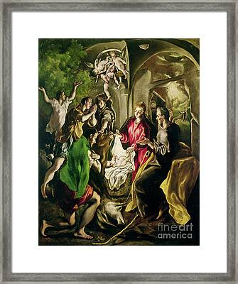 Adoration Of The Shepherds Framed Print by El Greco Domenico Theotocopuli