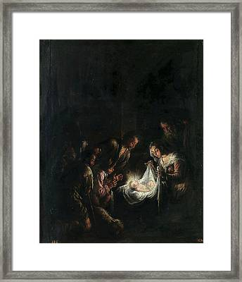 Adoration Of The Shepherds Framed Print by Jacopo Bassano