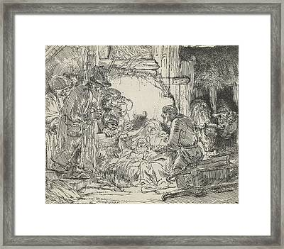 Adoration Of The Shepherds With Lamp Framed Print by Celestial Images