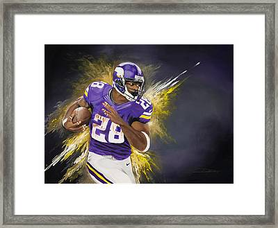 Adrian Peterson Framed Print by Don Medina