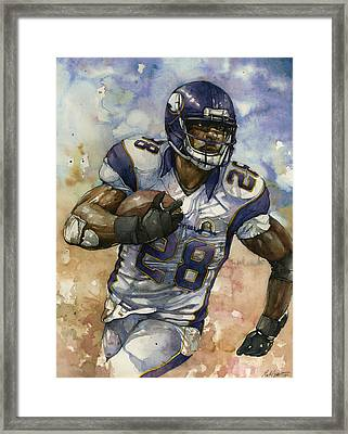 Adrian Peterson Framed Print by Michael  Pattison