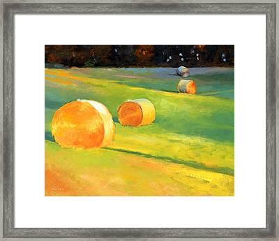 Advance Mills Hall Bales Framed Print by Catherine Twomey