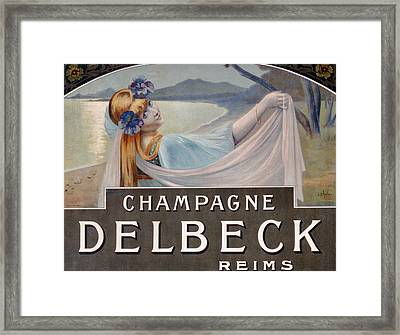 Advertisement For Champagne Delbeck Framed Print by Louis Chalon