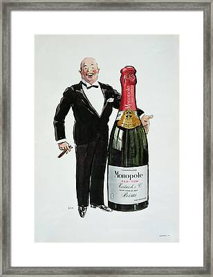 Advertisement For Heidsieck Champagne Framed Print by Sem
