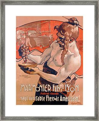 Advertisemet For Marmonier Fils Lyon Framed Print by Adolfo Hohenstein