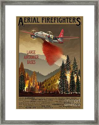 Aerial Firefighters Large Airtanker Bases Framed Print by Airtanker Art